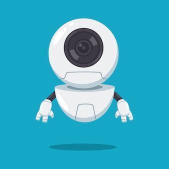 Simpatico robot volante con personaggio dei cartoni animati piatto vettoriale lente isolato su sfondo.