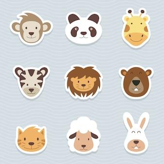 Simpatico set di adesivi animali dei cartoni animati