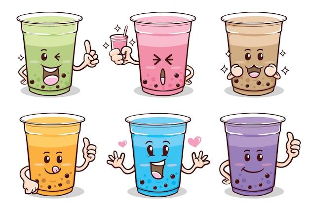 Simpatico set di adesivi emoji kawaii di tè al latte con bolle di cartone animato