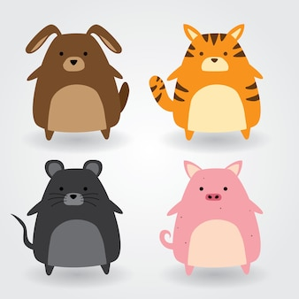 Simpatico set di animali tra cui cane, gatto, topo, maiale. illustrazione vettoriale