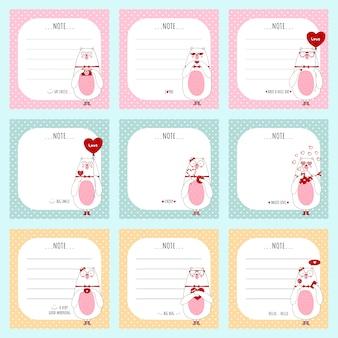 Simpatico set di carte con orsi