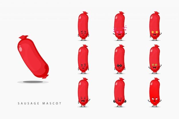 Simpatico set di design mascotte salsiccia