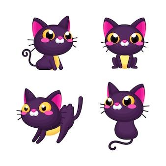Simpatico set di gatti di halloween