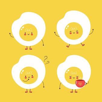Simpatico set di uova fritte felice. progettazione dell'illustrazione del personaggio dei cartoni animati di vettore, stile piano semplice. gruppo di caratteri uovo fritto, concetto di raccolta