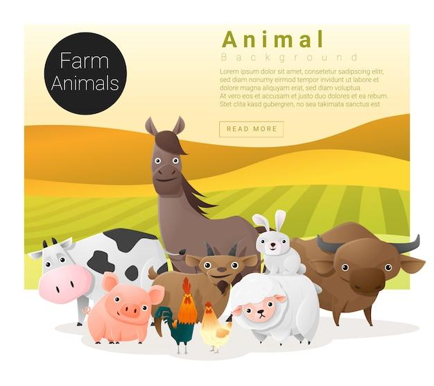 Simpatico sfondo di famiglia animale con animali da fattoria