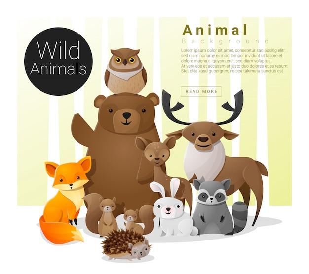 Simpatico sfondo di famiglia animale con animali selvatici