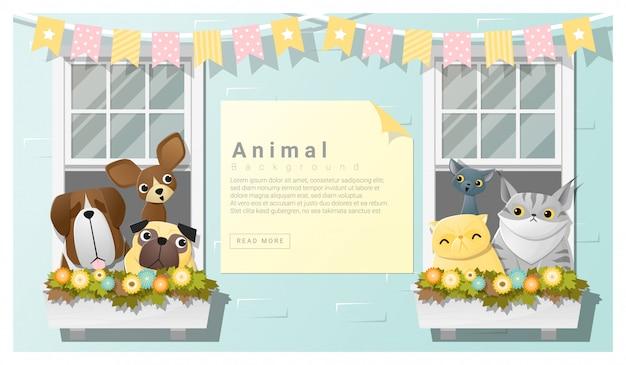 Simpatico sfondo di famiglia animale con cani e gatti
