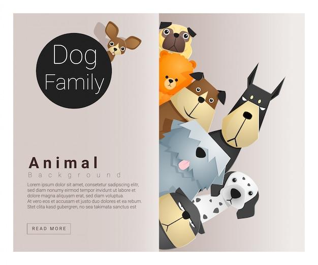 Simpatico sfondo di famiglia animale con cani