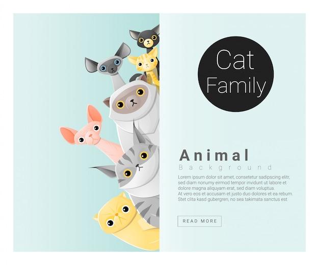 Simpatico sfondo di famiglia animale con gatti