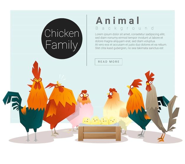 Simpatico sfondo di famiglia animale con polli