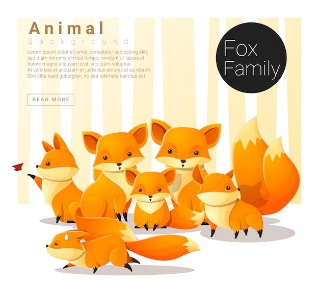 Simpatico sfondo di famiglia animale con volpi
