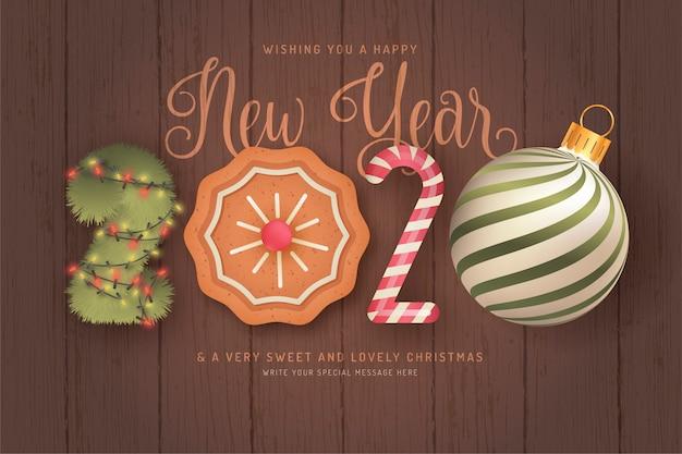 Simpatico sfondo di felice anno nuovo con elementi 3d