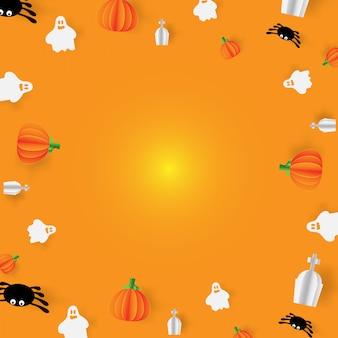 Simpatico sfondo di halloween con zucca