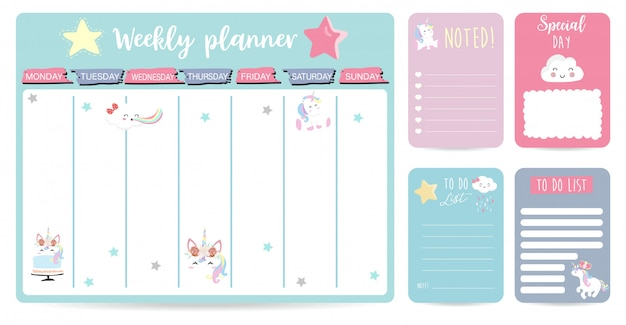 Simpatico sfondo planner settimanale per bambino