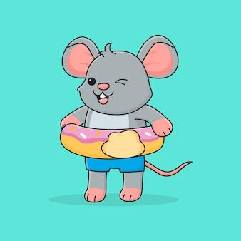 Simpatico topo con ciambella ad anello da nuoto
