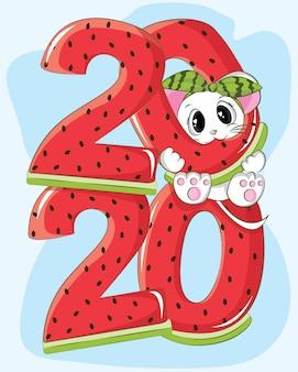 Simpatico topo felice anno nuovo 2020 con anguria