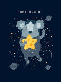 Simpatico topo topo cosmico con stella di formaggio