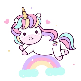 Simpatico unicorno con arcobaleno