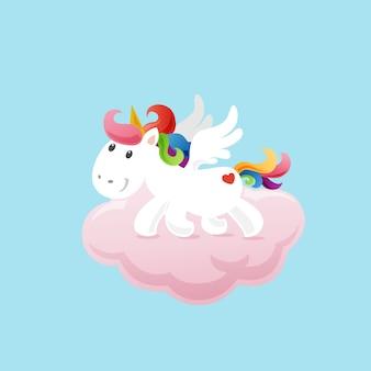 Simpatico unicorno nel cielo