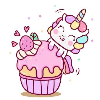 Simpatico vettore di unicorno che mangia la torta di muffin