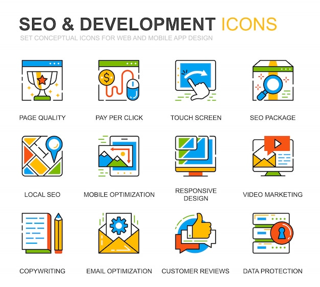 Simple set seo e development line icons per sito web