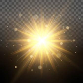Simulazione dell'illuminazione solare dell'alba, raggi luminosi illuminati, effetto lente traslucido