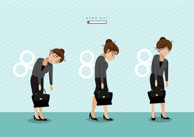 Sindrome da burn out con impiegato femminile esausto. lavoratore frustrato, problemi di salute mentale.