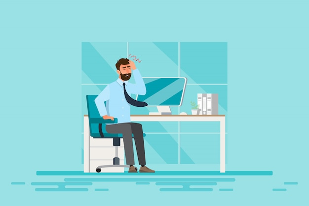 Sindrome di office, malattia degli uomini d'affari dal duro lavoro. concetto di salute. illustrazione vettoriale