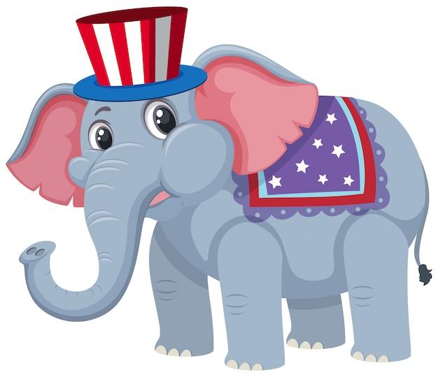 Singolo personaggio di elefante da circo