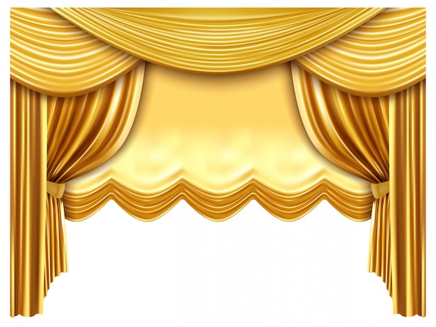 Sipario d'oro. tende di seta realistiche, sfondo di scena di opera di lusso, opera d'oro, scena di teatro. prima d'opera e di concerti, tessuto di velluto