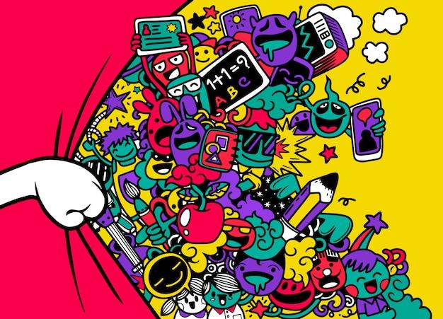Sipario di apertura a mano con divertente gruppo di studenti, illustrazione di mostri e simpatici alieni