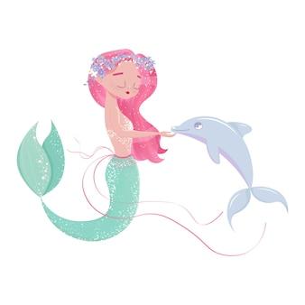 Sirena carina con illustrazione di piccoli delfini per opere d'arte di moda per bambini, libri per bambini, biglietti di auguri