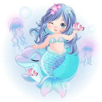 Sirena carina disegnata a mano con delfino