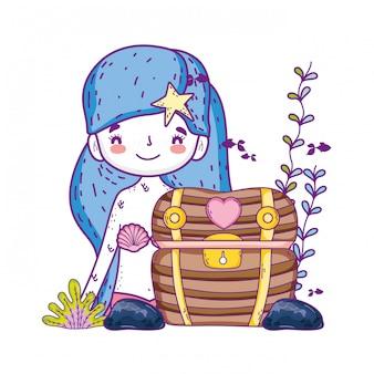 Sirena con scena sottomarina scrigno del tesoro
