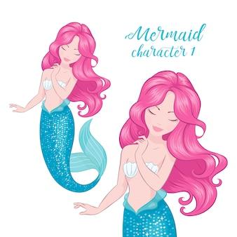 Sirena dai capelli rosa.