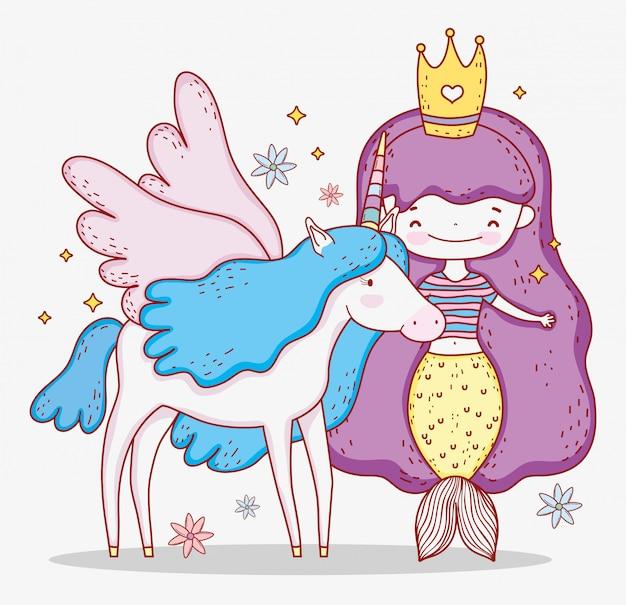 Sirena donna che indossa la corona e unicorno con le ali