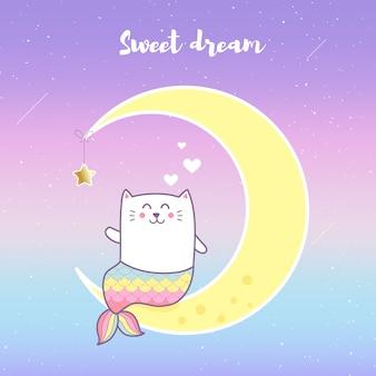 Sirena gatto carino ubicazione sulla luna con sfondo di colore pastello.