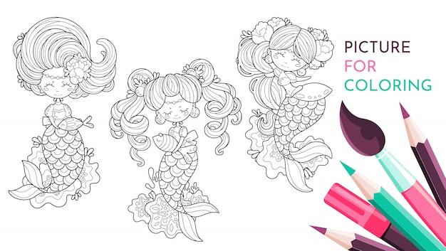 Sirena in bianco e nero per disegnare