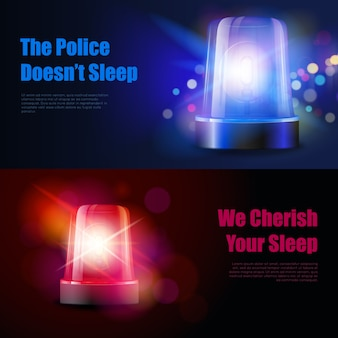 Sirena lampeggiante della polizia con striscioni di effetti luminosi