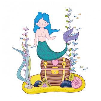 Sirena maschio con scena subacquea petto tesoro