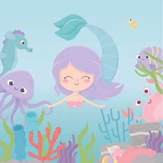 Sirena polpo granchio cavalluccio marino barriera corallina cartoon sotto il mare illustrazione vettoriale
