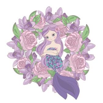 Sirena rosa ghirlanda di fiori floreale