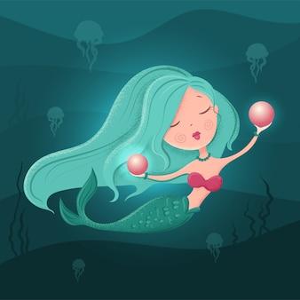 Sirena simpatico cartone animato con una perla in uno stile piatto con trame. illustrazione
