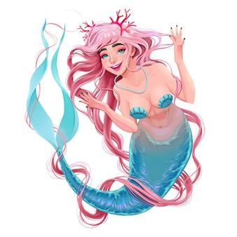 Sirena sorridente con i capelli lunghi