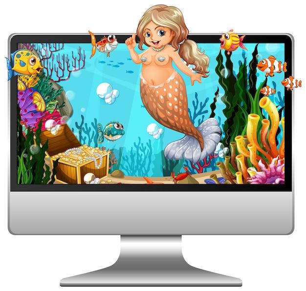 Sirena sullo schermo del computer