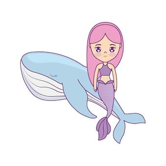 Sirena sveglia che si siede nella balena