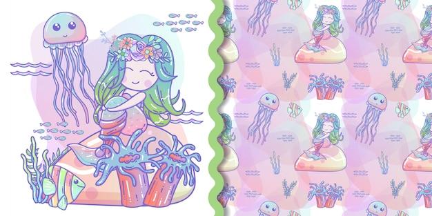 Sirena sveglia con l'illustrazione di vettore del piccolo pesce per il materiale illustrativo dei bambini