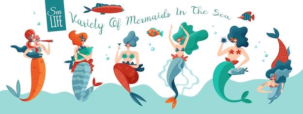 Sirene sexy giocose divertenti nelle onde del mare con la bandiera orizzontale di vita dell'oceano delle creature del mondo subacqueo
