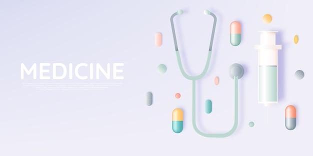 Siringa e medicina in colore pastello