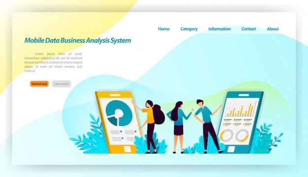 Sistema di analisti aziendali di dati mobili per applicazioni. con design isometrico finanziario e commerciale. modello web della pagina di destinazione